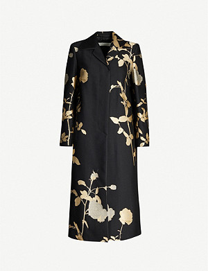 DRIES VAN NOTEN Metallic floral-pattern woven-jacquard coat