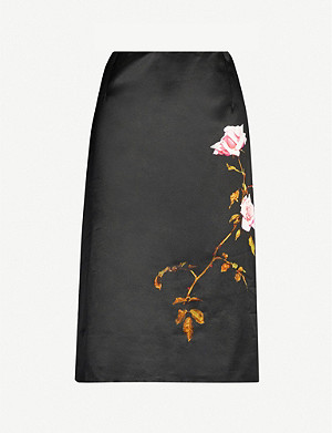 DRIES VAN NOTEN Floral-print satin mini skirt