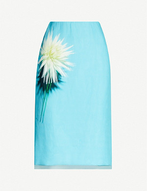 DRIES VAN NOTEN Floral-print mesh-overlay silk mini skirt