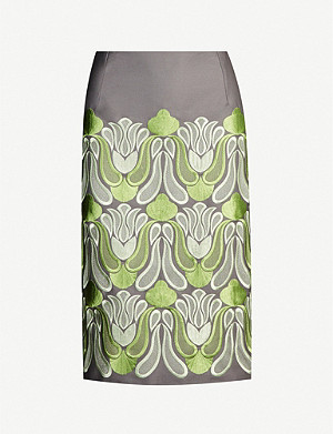 DRIES VAN NOTEN Floral-embroidered cotton-and-wool blend twill skirt