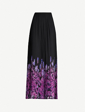 DRIES VAN NOTEN Floral-print trim pleated woven skirt