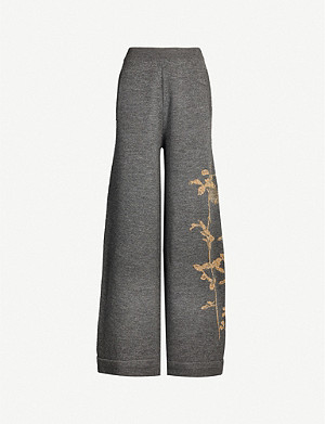 DRIES VAN NOTEN Target floral-pattern loose-fit wool-blend trousers