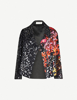 DRIES VAN NOTEN Floral-print and sequin-embellished woven jacket