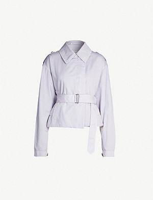 DRIES VAN NOTEN Collared belted cotton-twill jacket