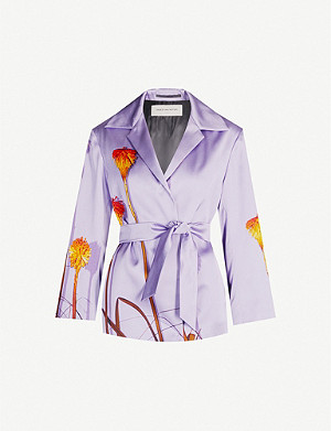 DRIES VAN NOTEN Floral-print satin wrap jacket