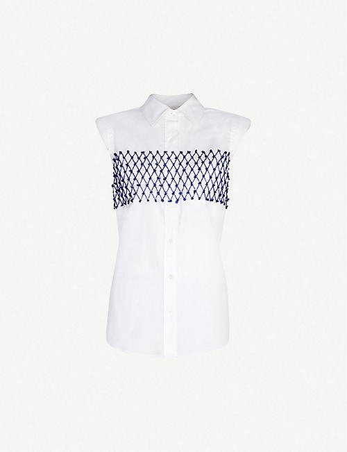 DRIES VAN NOTEN Bead-embellished cotton shirt