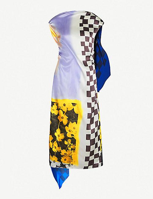 29f8470874a7 DRIES VAN NOTEN Floral-print draped-panel silk-satin dress