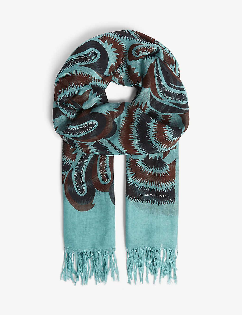 db4ea21418b7 DRIES VAN NOTEN - Patterned silk-blend scarf | Selfridges.com