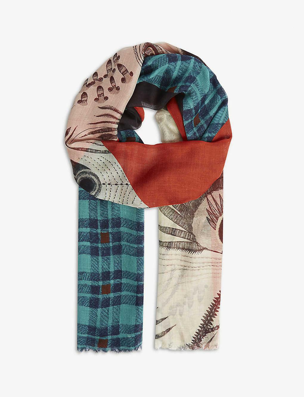 7e7d24e3d9fb DRIES VAN NOTEN - Fixx collage-print silk-modal scarf | Selfridges.com