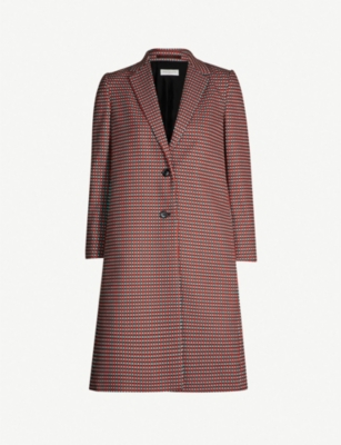 DRIES VAN NOTEN Geometric-print stretch-cotton coat