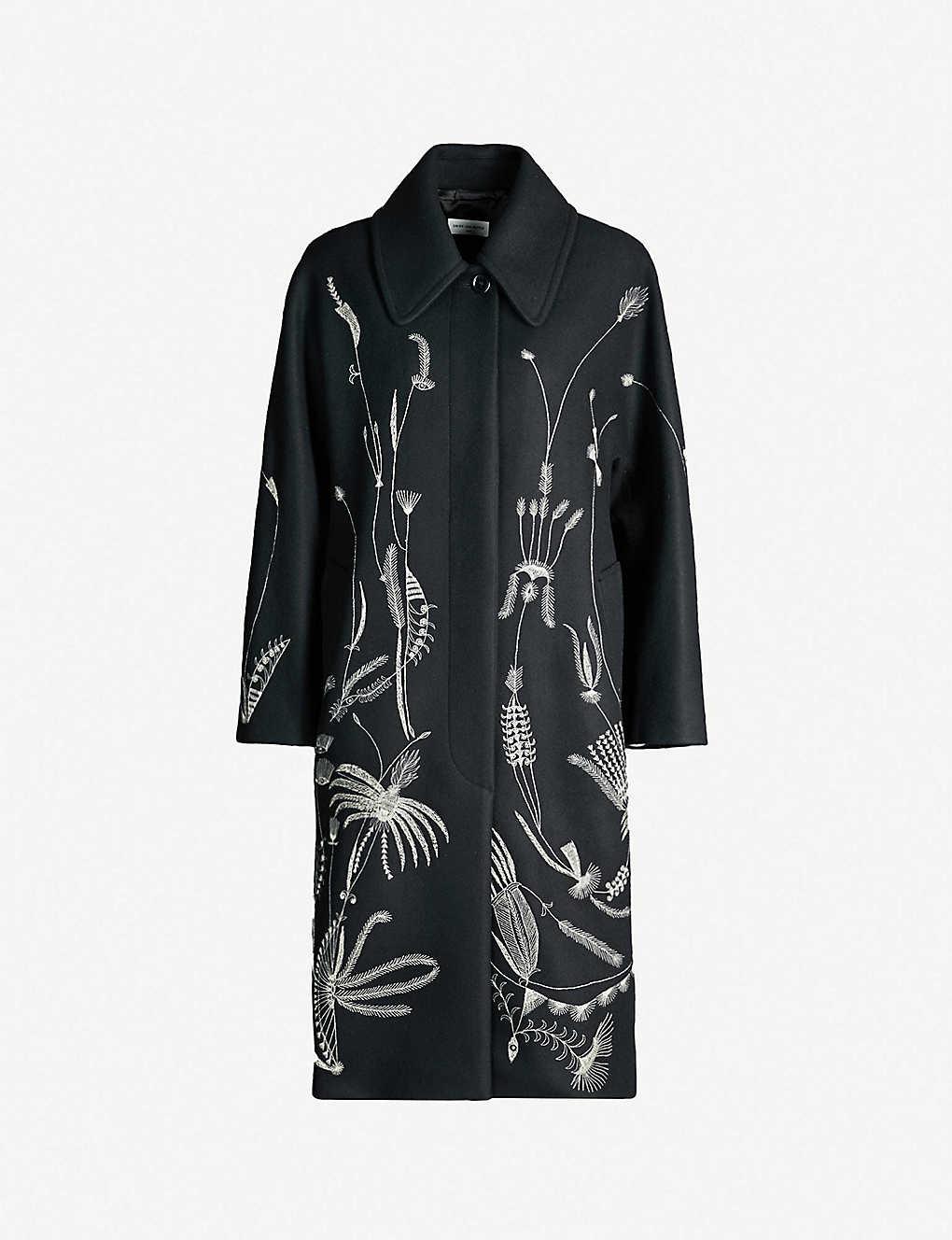 0dae82ef DRIES VAN NOTEN - Floral-embroidered wool-blend coat | Selfridges.com