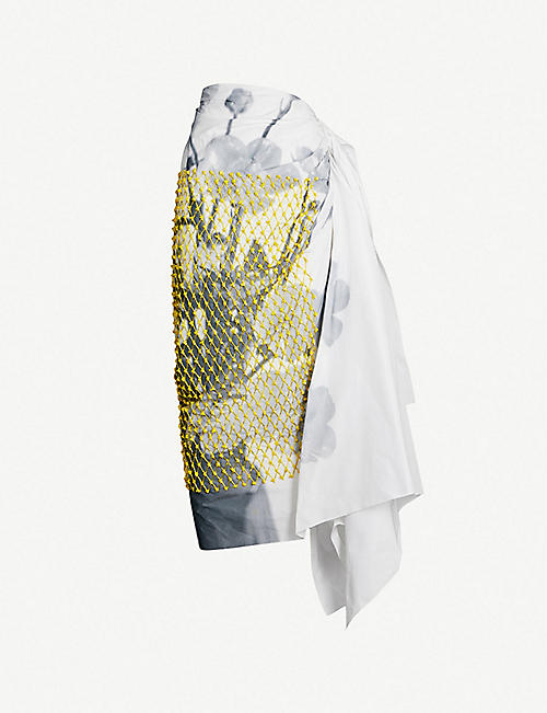 884be703d96293 DRIES VAN NOTEN High-waist net-panel sequinned printed cotton-blend skirt