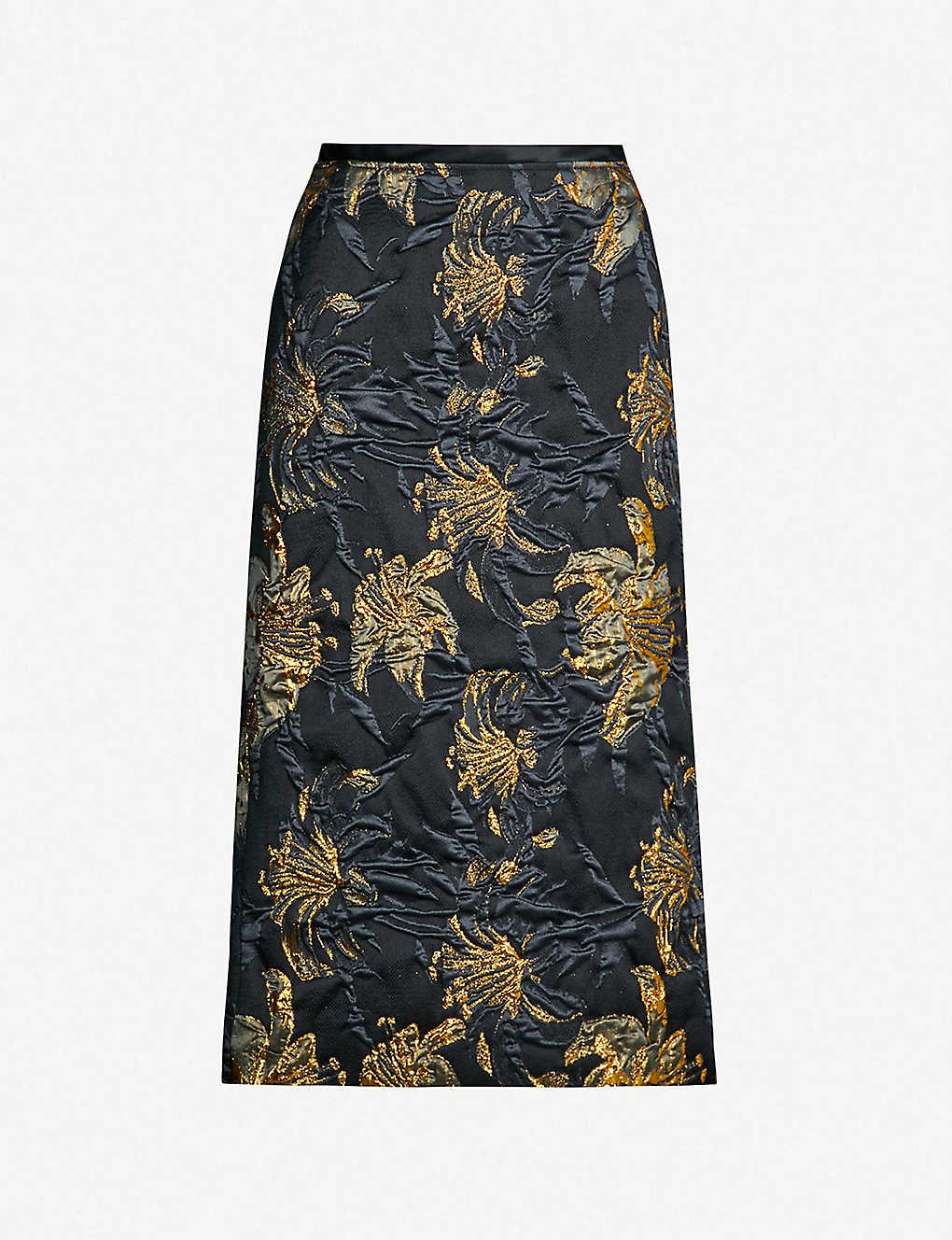 aaac021a0724 DRIES VAN NOTEN - Metallic and satin floral-jacquard pencil skirt    Selfridges.com
