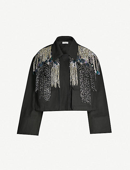 0253180d25 DRIES VAN NOTEN Cropped embellished cotton jacket
