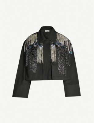 DRIES VAN NOTEN Cropped embellished cotton jacket