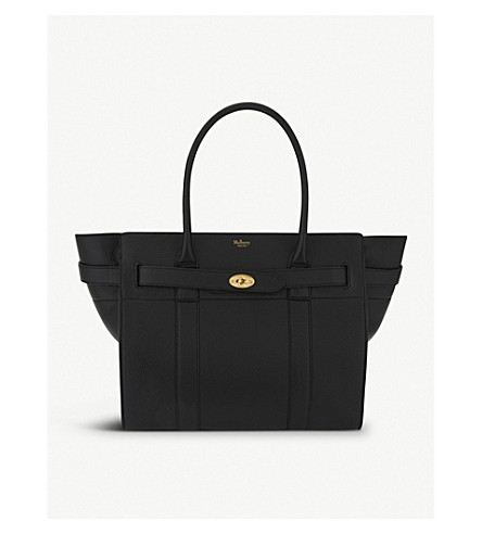 Small Zip Bayswater Classic Leather Tote - Black