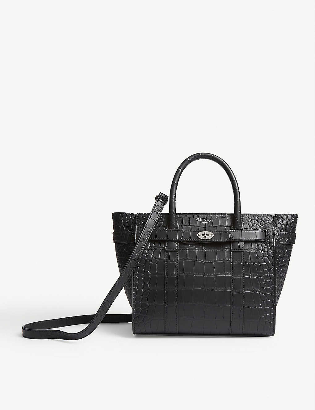 MULBERRY: Bayswater mini croc-embossed leather tote