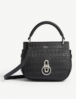 MULBERRY Amberley small croc-embossed leather satchel