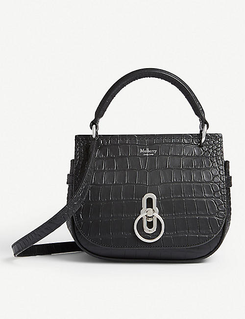 MULBERRY: Amberley small croc-embossed leather satchel