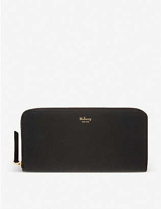 MULBERRY: 8 CC grained leather zip-around wallet
