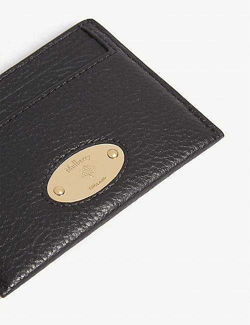 MULBERRY Logo pebbled leather card holder