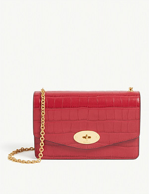 MULBERRY Darley croc-embossed leather wallet-on-chain