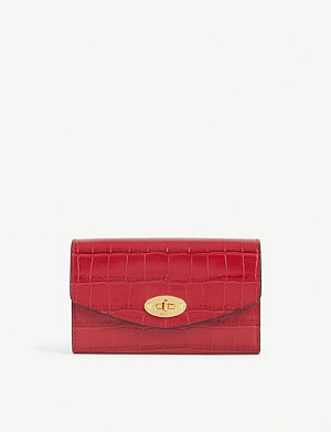MULBERRY Darley medium croc-embossed leather wallet