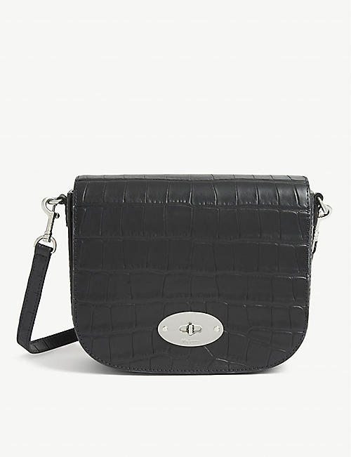 MULBERRY Darley small croc-embossed leather satchel bag