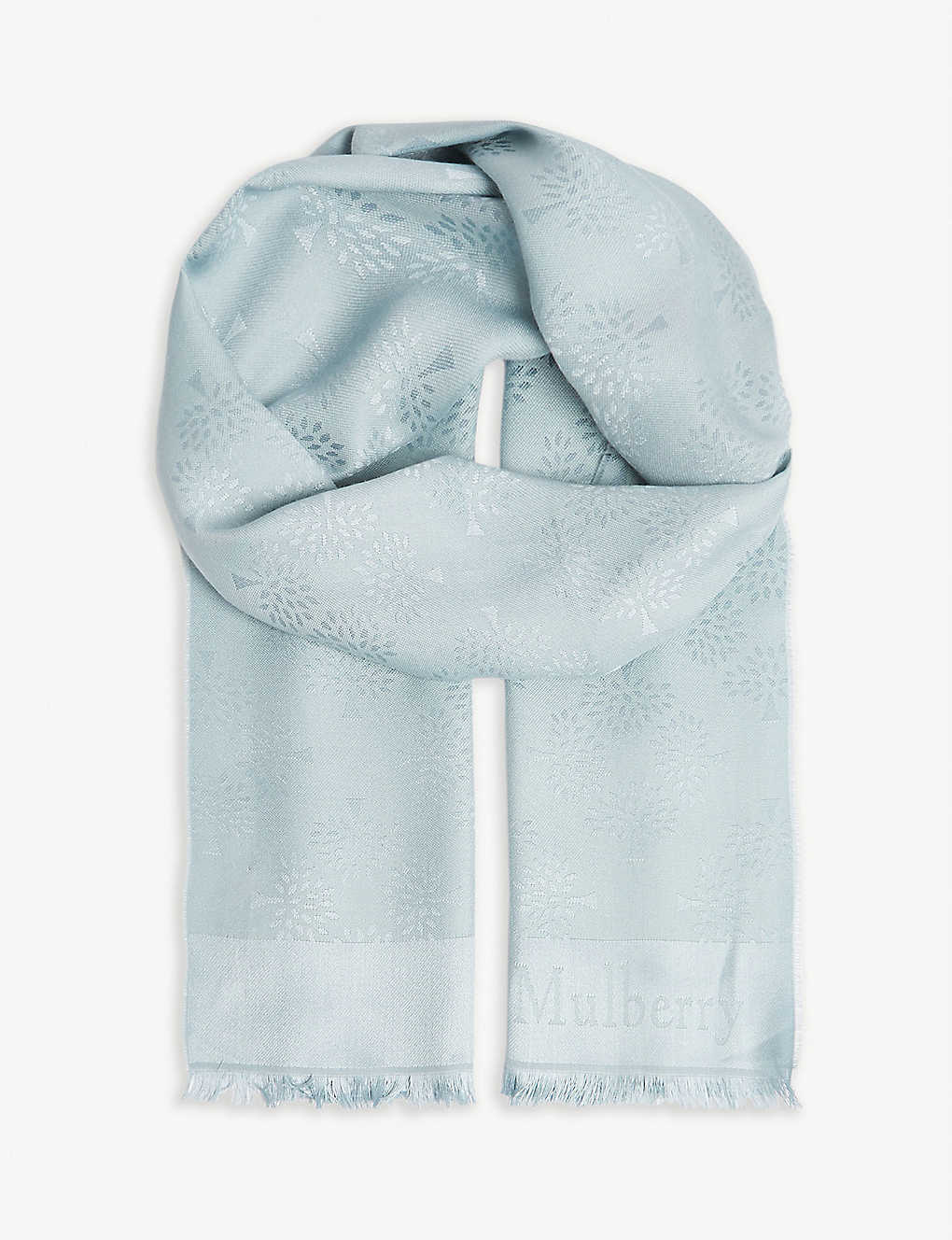 Silk and cotton scarf - Cloudy grey Mulberry Selfridges