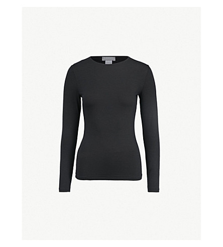 26d53f1dc HANRO - Soft Touch long-sleeved stretch-jersey top | Selfridges.com