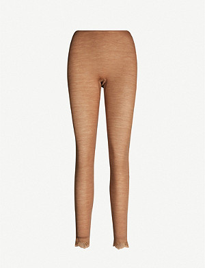 HANRO Woolen lace-trim wool and silk-blend leggings