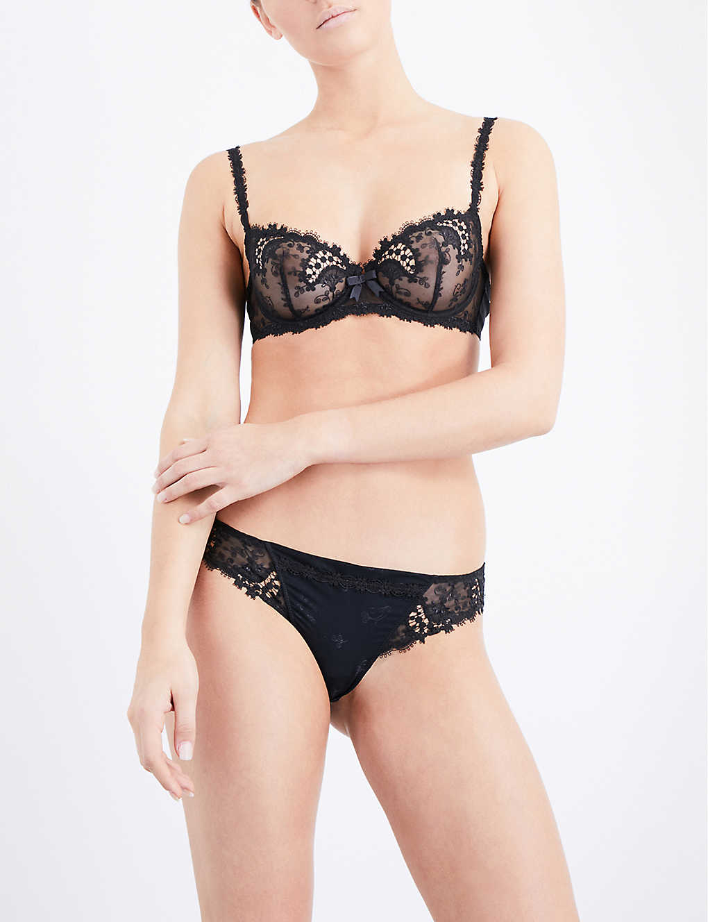 SIMONE PERELE: Wish mesh and lace tanga briefs
