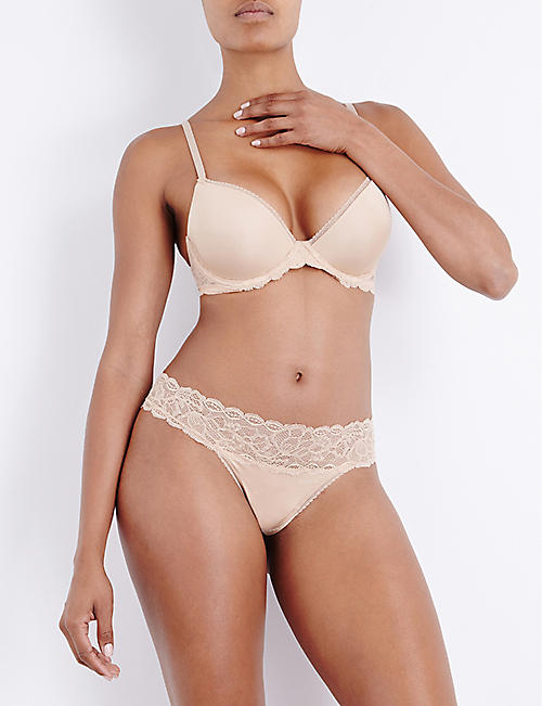 CALVIN KLEIN Seductive Comfort stretch-lace and jersey low-rise thong