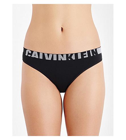 CALVIN KLEIN 无缝徽标-打印球衣比基尼内裤 (001 + 黑色
