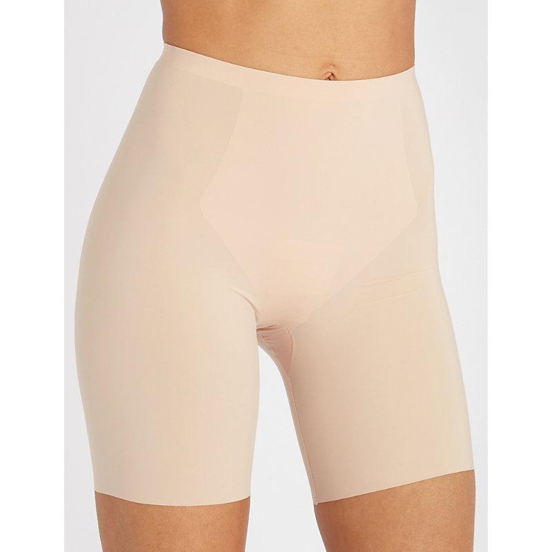 SPANX Thinstincts Mid-Thigh Shorts in Beige