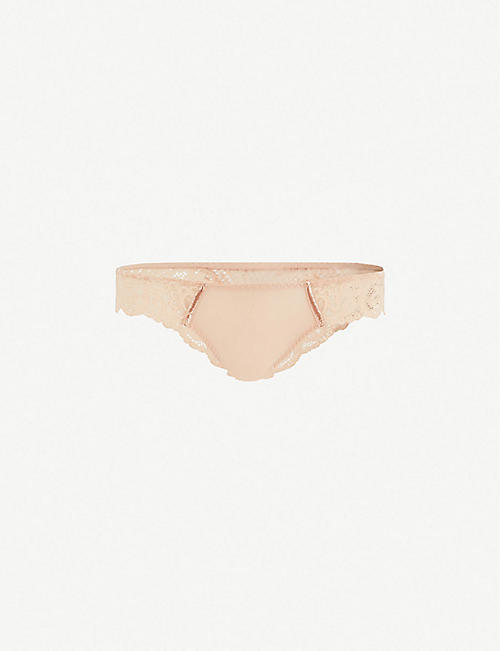 MAISON LEJABY Gaby jersey and lace tanga briefs