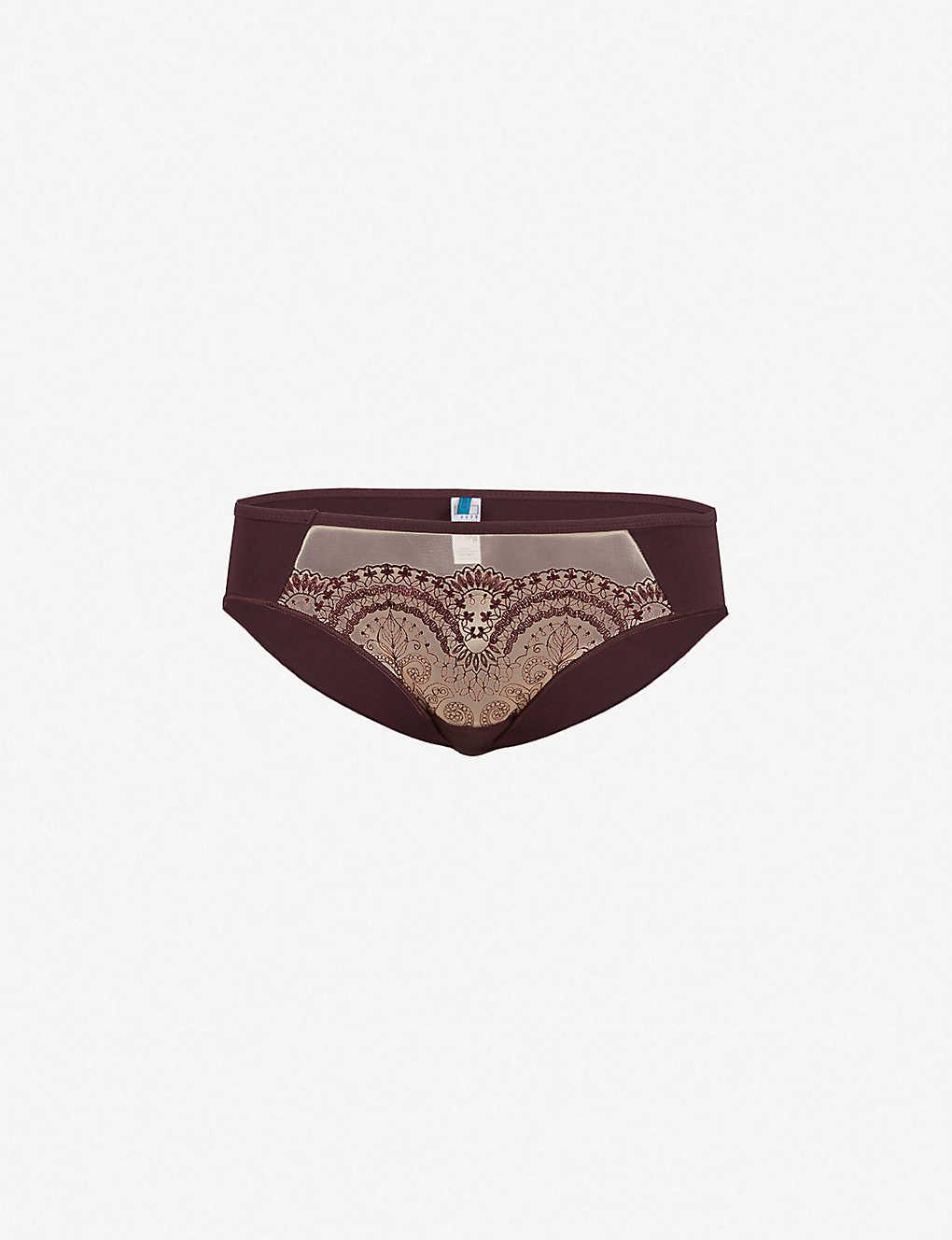 c5b47b4d3ce4 MAISON LEJABY - Tattoo floral-lace and jersey bikini briefs ...