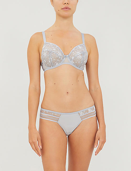 MAISON LEJABY Fiorella mid-rise stretch-jersey and mesh briefs