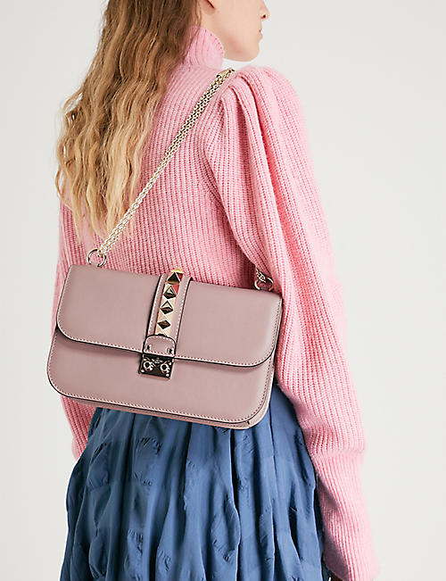 VALENTINO Studded medium leather shoulder bag