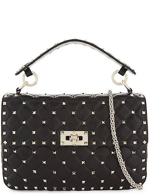 VALENTINO GARAVANI: Rockstud Spike leather medium shoulder bag