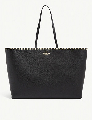 VALENTINO Rockstud grained leather shopper bag