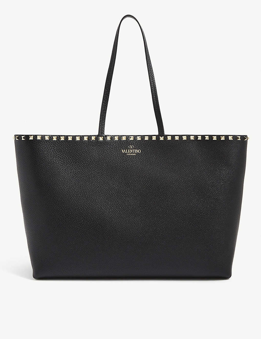 VALENTINO GARAVANI: Rockstud grained-leather shopper