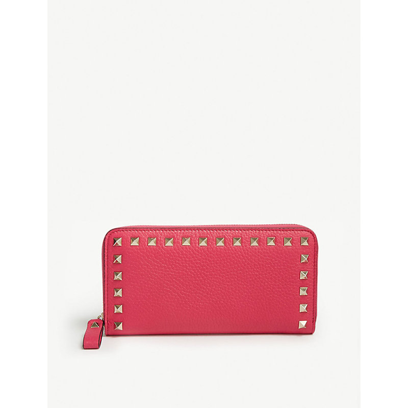 7ff3a53305a29 Valentino Rockstud Small Leather Continental Wallet In Disco Pink ...