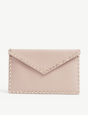 VALENTINO Rockstud envelope leather clutch