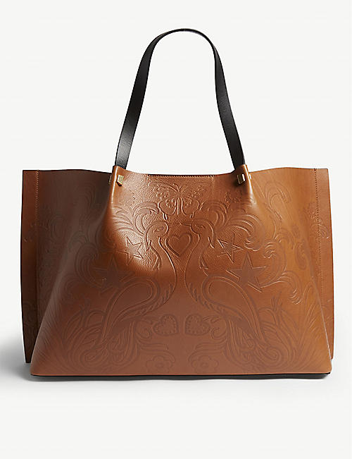 ad057c0b31458 VALENTINO Go logo Escape phoenix print large leather tote
