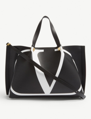 VALENTINO 'V' logo leather shopper