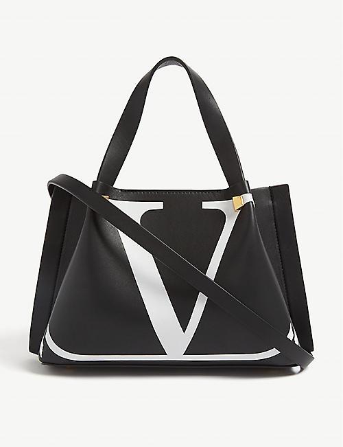 ef37ff07db8e VALENTINO  V  logo leather mini shopper