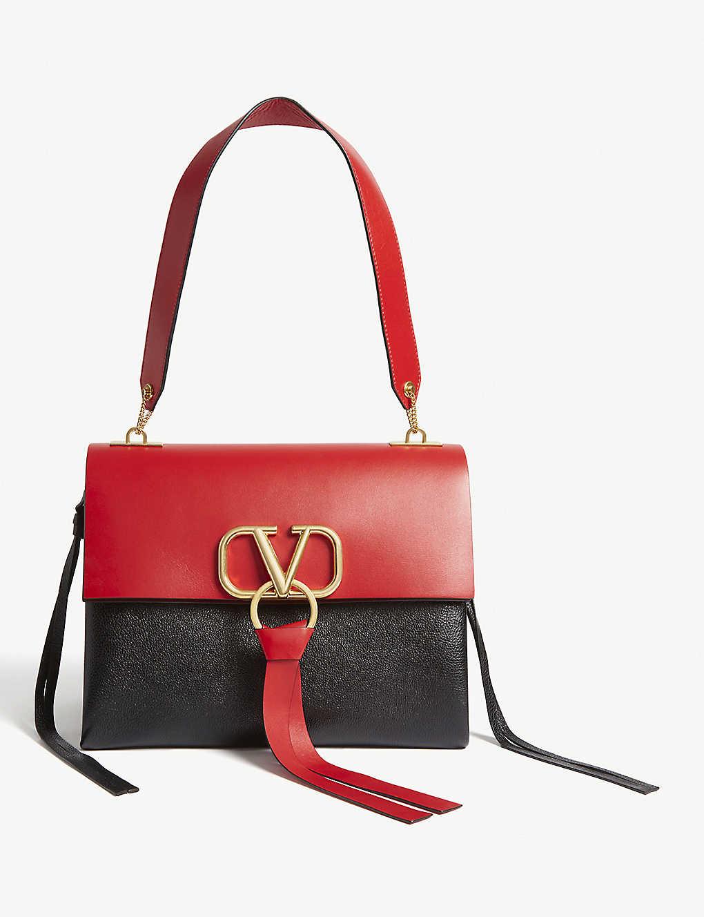 80ecfb1197d53 Vring leather shoulder bag bag - Blackred ...