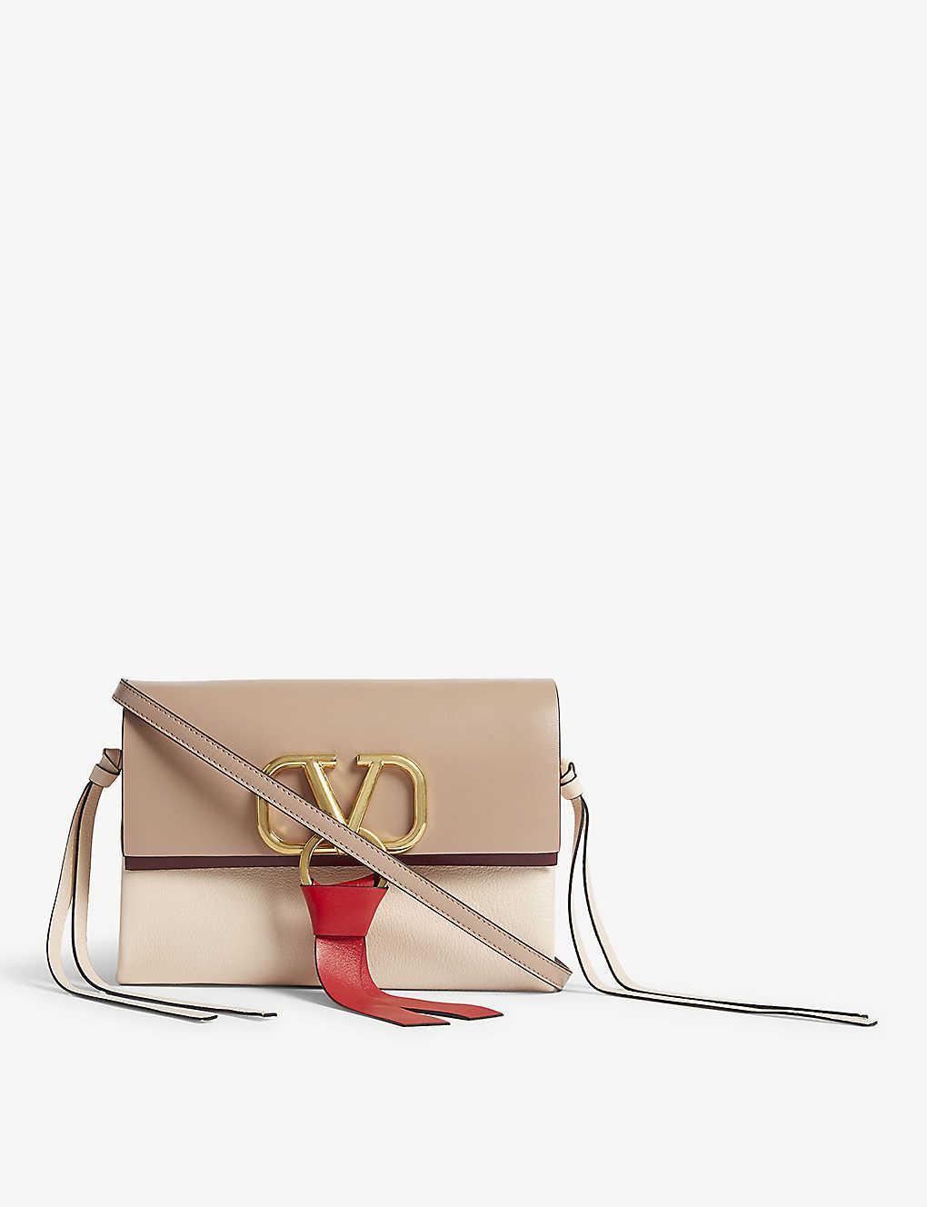 851091cfd630b  V  ring leather mini cross-body bag - Rose pink    ...