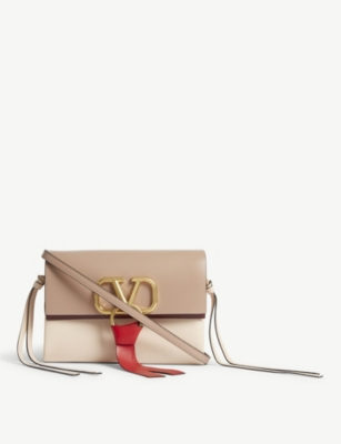 VALENTINO 'V' ring leather mini cross-body bag